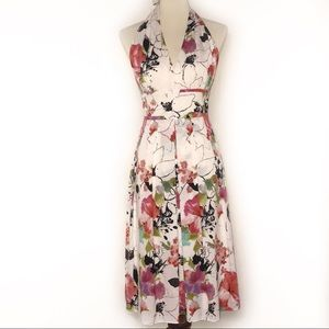 Adrianna Papell Floral Halter Dress size 14